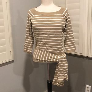 NY&C Soho Jeans Blouses Stripes Brown Cream White